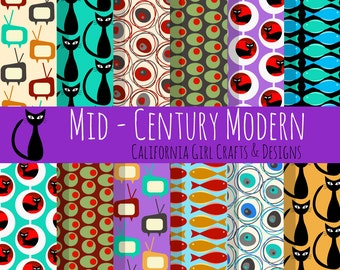 Mid Century Modern Digital Paper - Cool Cats, Fish, TVs, Circles, Martini Olives and Circle Patterns - 12 x 12 inches, 300 dpi