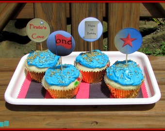 Printable Pirate Cupcake Toppers, Digital & Printable Pirate Cupcake Picks, Pirate 1st Birthday, Pirate's Cove, Pirate Party Cupcake Toppers