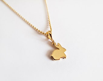 Tiny Gold Bunny Necklace, Rabbit Necklace -  Everyday Jewelry