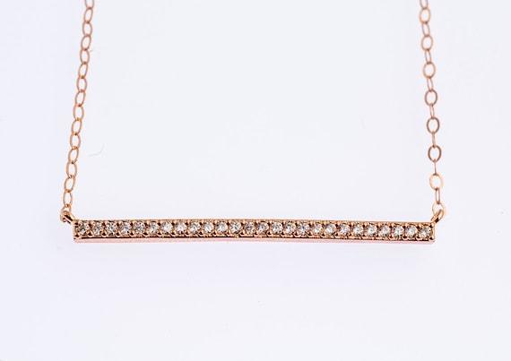 Bridal Gift Necklace Diamond CZ Bar Necklace Rose Gold CZ Necklace ...
