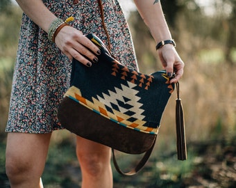Southwestern Leather Bottom Bag in Pendleton Wool, Native Crossbody Bag, Wool Purse, Black Purse, Leather Bag, Tribal Crossbody purse