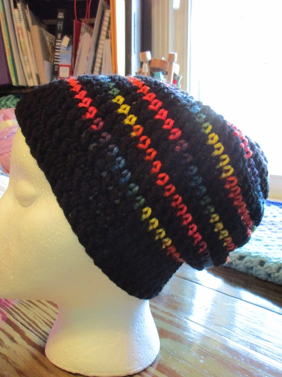 Black and Neon Beanie