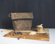 Waxed Canvas Lunch Bag, Waxed Canvas, Waxed Canvas Bag, Waxed Canvas Tote, Waxed Canvas Lunch Tote, Men's Lunch Bag, Waxed Canvas Fabric