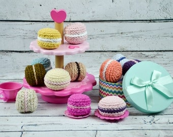 Crochet macaroons,pretend macaroons,girls pretend food,crochet sweets,cotton crochet macaroons,girls crochet food,pretend play food,macaroon