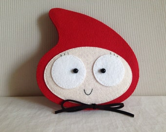 Hand-sewn Water-Droplet Felt Coin Purse in Red