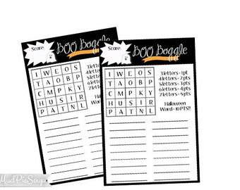 Printable Halloween Game Cards - Boo Boggle Halloween Party Game - Fun Favor or Holiday Activity / Instant Download