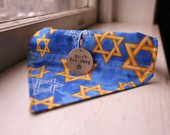 Hanukkah Dog Bandana with Space for Tags, Handmade Dog Scarf, Dog Bandanna, Pet Dog Accessories, Velcro Over the Collar, Channukah Jewish