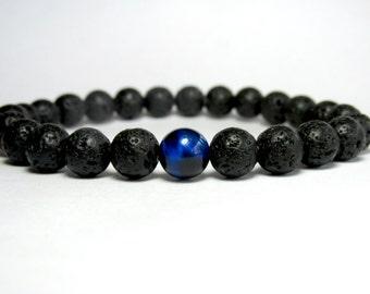 Lava Bracelet, Blue Tiger Eye Bracelet, Mens Bracelet, Beaded Bracelet, Gemstone Bracelet, Stretch Bracelet, Mala Bracelet, Yoga Bracelet