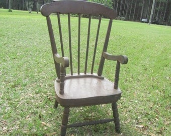 Vintage Chair, Wood chair, Furniture, Antique Wood Chair, Childs Chair, Rustic Chair, Brown chair,