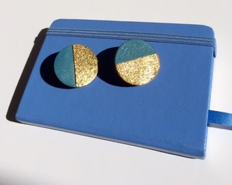Leather golden and blue geometric colorblock stud earrings