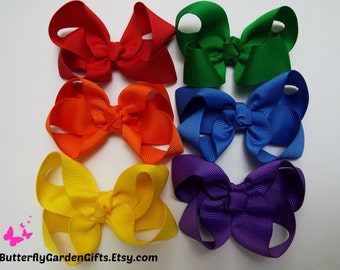 Mini grosgrain twisted boutique hair bow clip size x-small