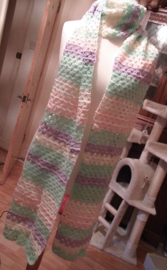 """Hand Crotcheted scarf, pastel colours 8""""inches wide over 9ft long"""