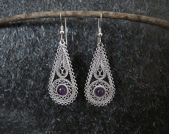 Amethyst silver earrings,Silver Earrings,Filigree earrings, Israel jewelry, Ethnic earrings,Amethyst earrings