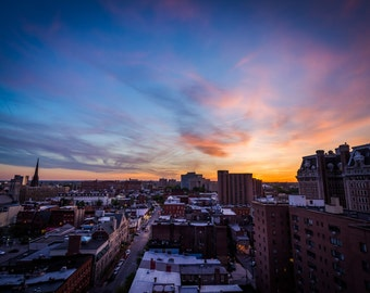 Sunset over Midtown-Belvedere, in Baltimore, Maryland.   Photo Print, Stretched Canvas, or Metal Print.