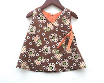 Baby Dress - Girls Fall Dress - Toddler Wrap Dress - Flower Dress - Dress size 3-18M