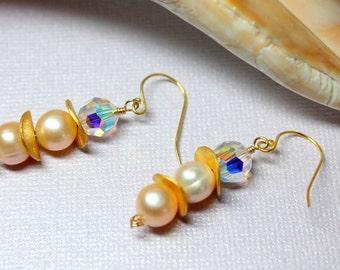 Pearl Earrings, Simple Classic Pearls, Pearl Drops, 14k Gold Filled Pearl Earrings, Genuine Freshwater Pearls, Crystal Pearl Dangles