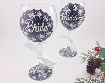FREE SHIPPING ON 7 Plus Bride Bridesmaid Chalkboard Snow Wine Glass Personalized Custom Wedding Shower Bachelorette Bridesmaid Wedding Party
