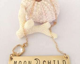 MOONCHILD Stamped Brass Bar Necklace