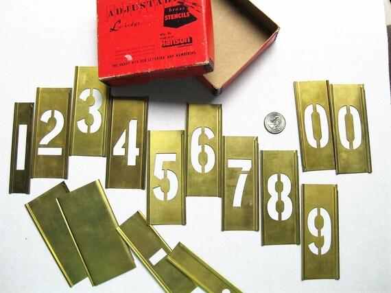 """2"""" brass stencils. Gothic numerals 0-9+. Reese's Stencils. Lockedge adjustable. Signmaking. Lettering. CH Hanson."""
