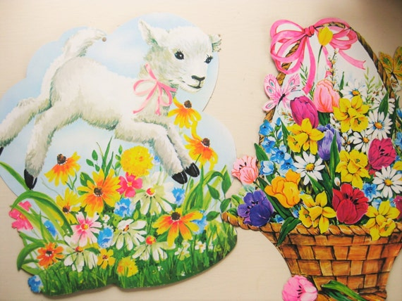 Two large vintage Easter cut-outs, wall decor. Lamb and flowers. Cardboard die-cut. Easter decor. Nursery decor. Spring decor.