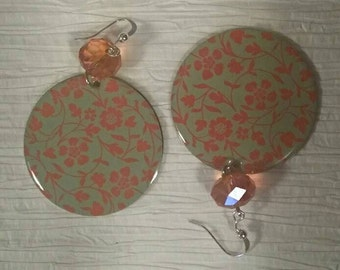 Orange and Green Floral Earrings No. 159