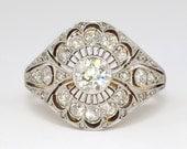 Art Nouveau 1900's Russian 1.41ct t.w. Lacey Old European Cut Diamond Ring 18k Sterling Silver