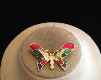 Vintage Multi Colored Rhinestone Butterfly Pin