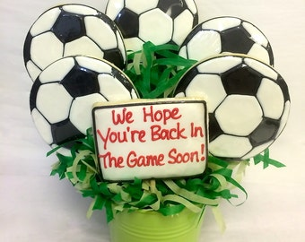 Get Well Gift, Soccer Get Well Cookie Bouquet, Sports Get Well Cookie Gift, Get Well Cookie Bouquet, Great Get Well Gift for Sports Injury