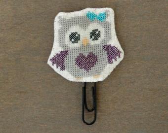 Owl paperclip Grey & Purple