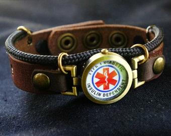 Diabetes Bracelet, Insulin Dependent Bracelet, Type 1 Diabetic Medical ID Bracelet, Adjustable Leather Wristband