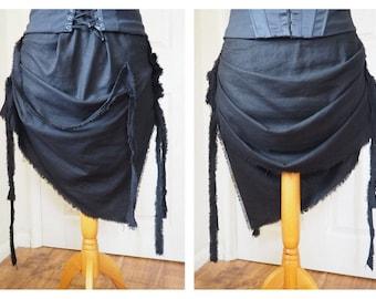 Black Linen Mini Bustle Skirt Steampunk Goth Cyber Punk Mad Max Road Warrior ragged asymmetric skirt