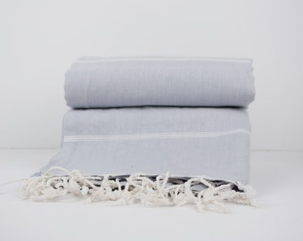 Grey and White Stripe Turkish Towel by Linum