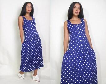 Vintage 80s 90s Navy Blue White Polka Dot Drop Waist Midi Dress Button Front