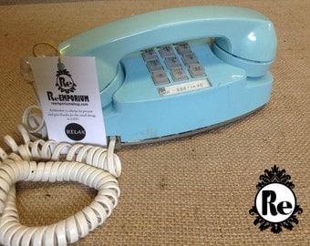 Vintage Princess Phone Blue 1960's Push Button Phone No. 1