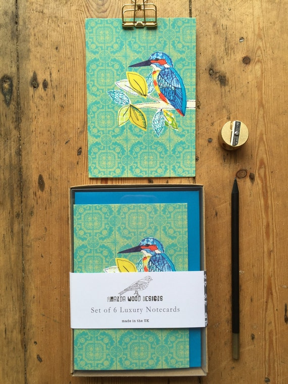 Kingfisher notecards-set of 6- boxed