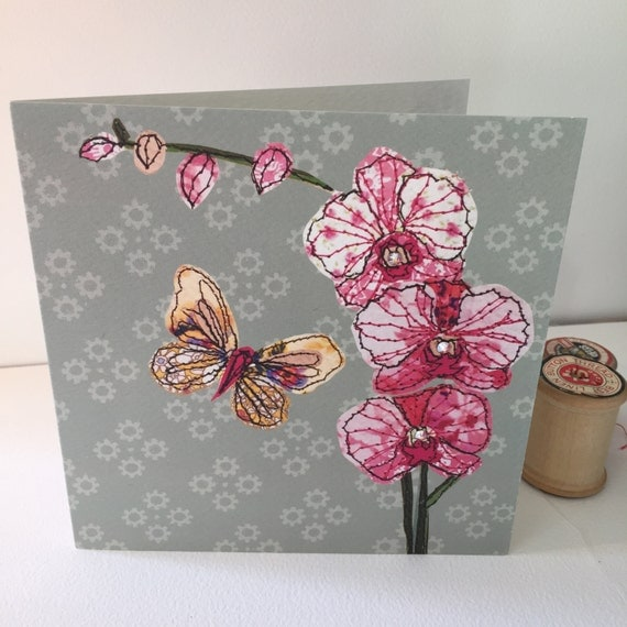 Orchid-Greeting Card- handfinished