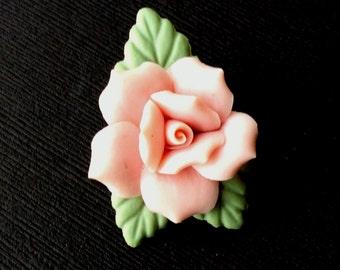 Vintage Polymer Clay Rose Brooch