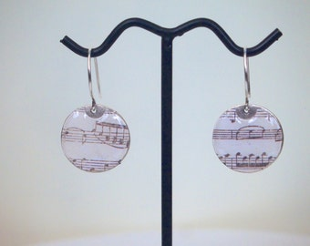 Sheet music disc earrings, large or small