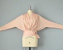 "80s Blouse // 1980's ""KENZO Paris"" Peach Silk Gathered Avant-Garde Wrap Blouse // M"