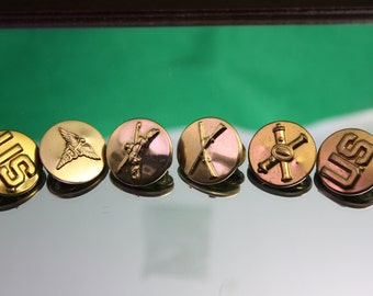 Vintage Collection of (6) U.S. Military Brass Insignia Collar Disks