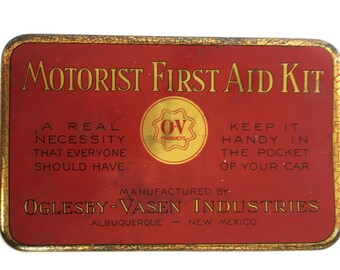 Vintage motorist first aid tin empty automobile safety kit Oglesby-Vasen