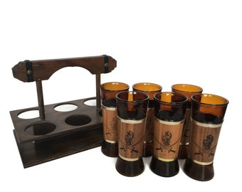 Siesta ware caddy and bar glasses vintage walnut wrapped conquistador
