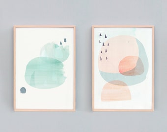 Set of 2, Contemporary Art Prints, Modern Abstract Painting, Art Print Sets, Light Modern Abstract Art