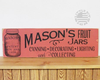 Mason's Fruit Jars, Canning, Decorating, Lighting And Collecting, 8x24, Ready To Ship, Hand Painted Wood Sign, Primitive Decor, SKU-704