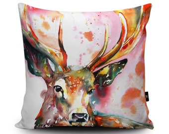 """Stag Pillow, Stag Cushion, Red Stag, Deer Cushion, Scottish Cushion, Stag Gift, Stag Accessories, Vegan Suede, 18""""/23.6"""" Faux Suede Cushion"""