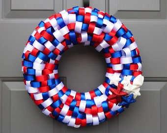 Patriotic Red White and Blue Ribbon Wreath