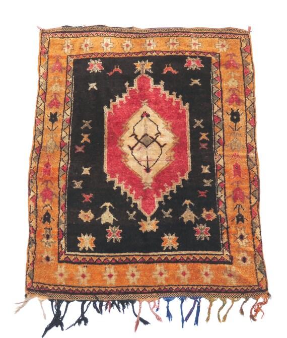 Vintage Moroccan Rose & Black Wool Rug