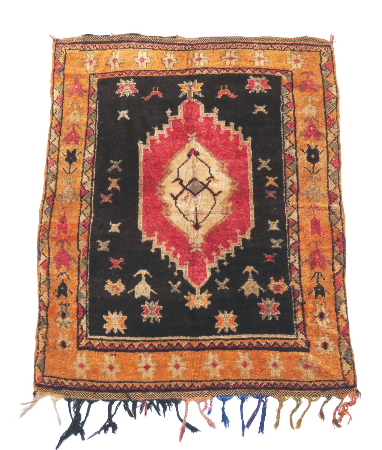 Vintage Moroccan Rose & Black Wool Rug