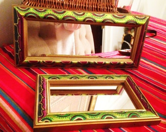 """Hand  Painted  Bohemian Two  Small Wood Decorative Wall Mirror 10""""Hx6""""Wx1""""D 14""""Hx6""""Wx1""""D  M0009"""