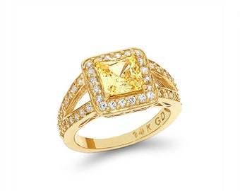 14k solid gold canary cubic zircon and white zircon engagement ring, promise ring, fancy ring.